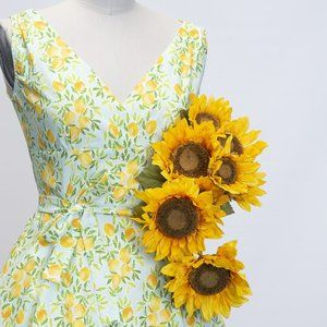 Heart of Haute Lemon Fruit Print Marie Dress